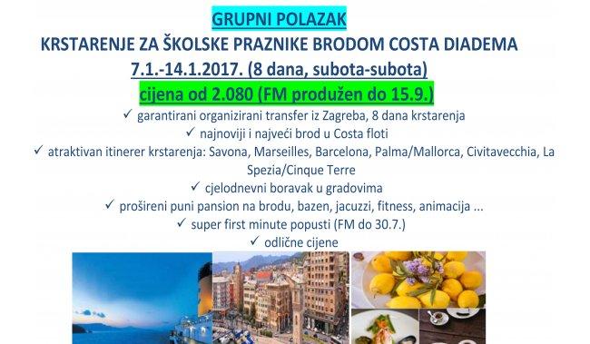 KRSTARENJE ZA ŠKOLSKE PRAZNIKE - COSTA DIADEMA 7.1.-14.1.2017.
