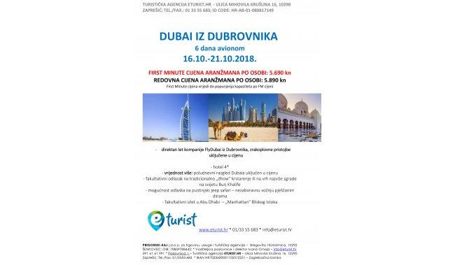 DUBAI IZ DUBROVNIKA - 6 dana avionom - 16.10.-21.10.2018.